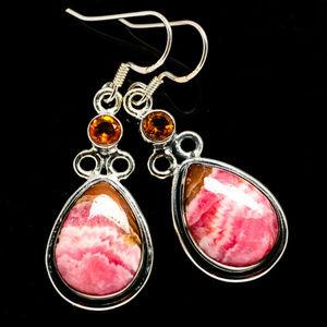 Jewelry - Pink Rhodochrosite and Citrine Earrings 925 SS